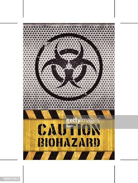seamless biohazard warning sign with metal grid and caution text