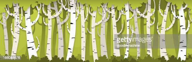 seamless birch forest background - tree bark stock illustrations, clip art, cartoons, & icons