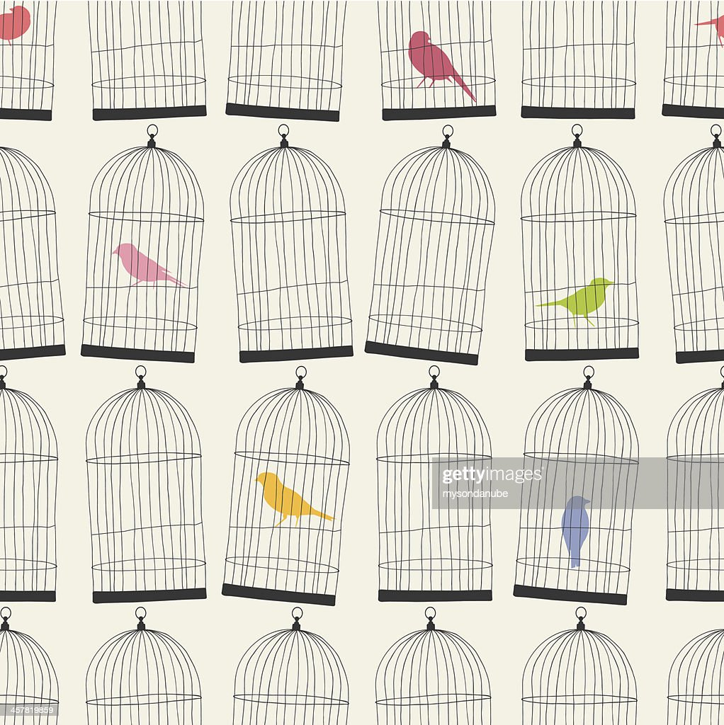 seamless birdcages and colorful birds wallpaper pattern
