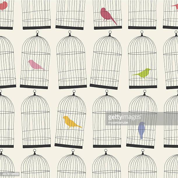 seamless birdcages and colorful birds wallpaper pattern - cage stock illustrations, clip art, cartoons, & icons