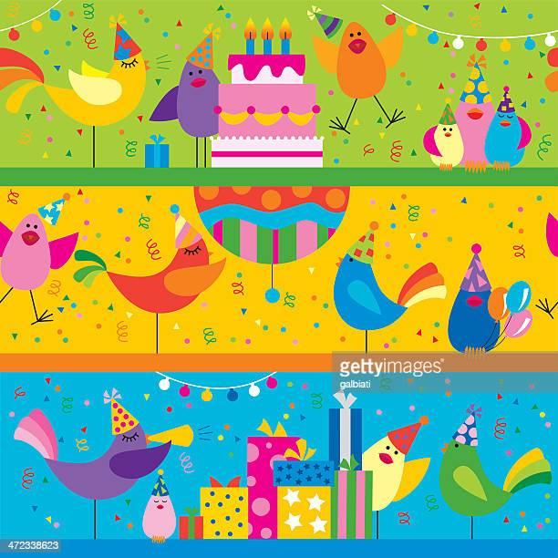 ilustrações, clipart, desenhos animados e ícones de seamless pássaros em uma festa de aniversário - pinata