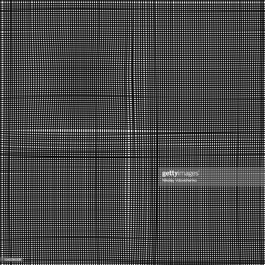 Seamless black amd white abstract cotton texture for backgrounds, texture, wallpaper, mask or bump 3d texturing. Background with threads, natural linen. Vector pattern.