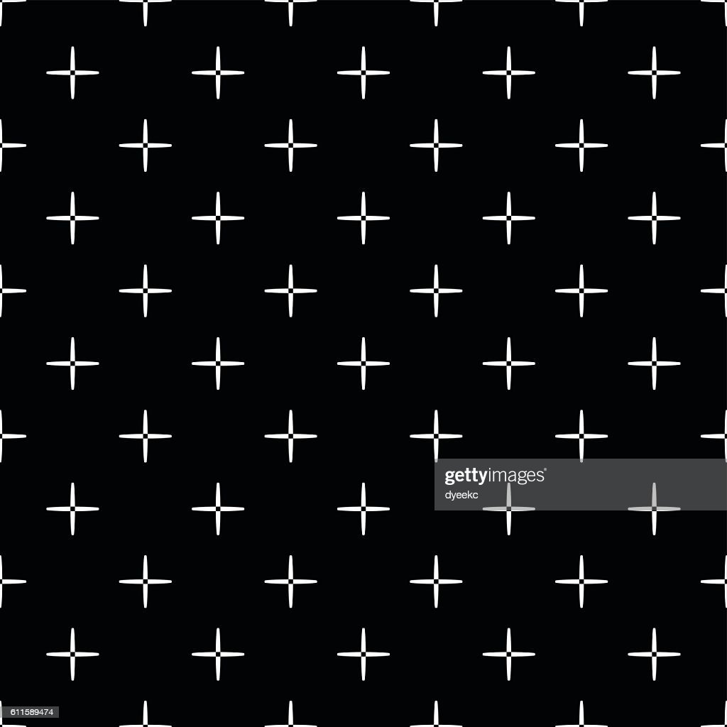 Seamless  black and white cross pattern.
