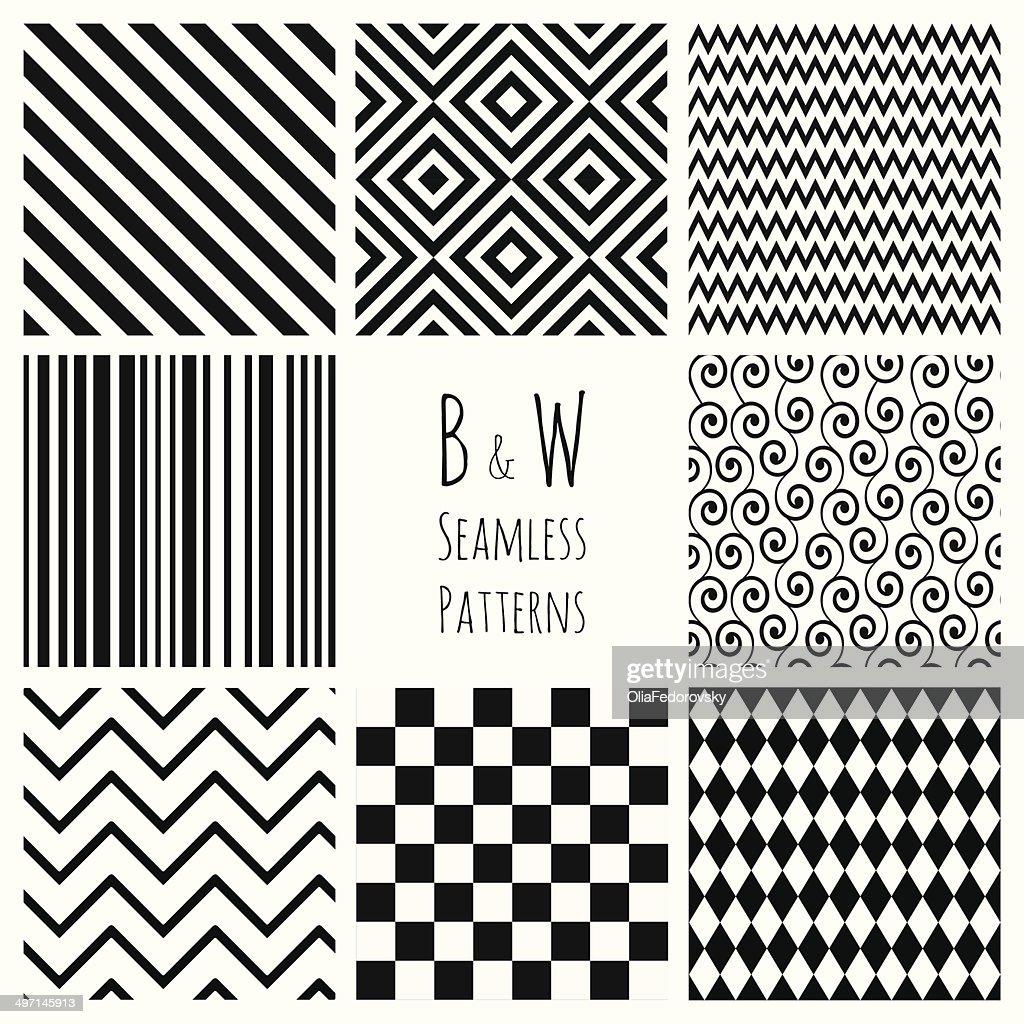 Seamless Black and White geometric background set.
