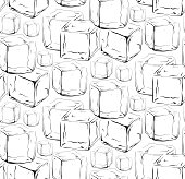 Seamless black and white texture with hand drawn ice cubes