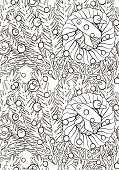 Seamless black and white vector pattern for adult coloring book.