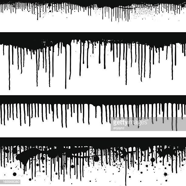 seamless black paint drips - drop stock illustrations
