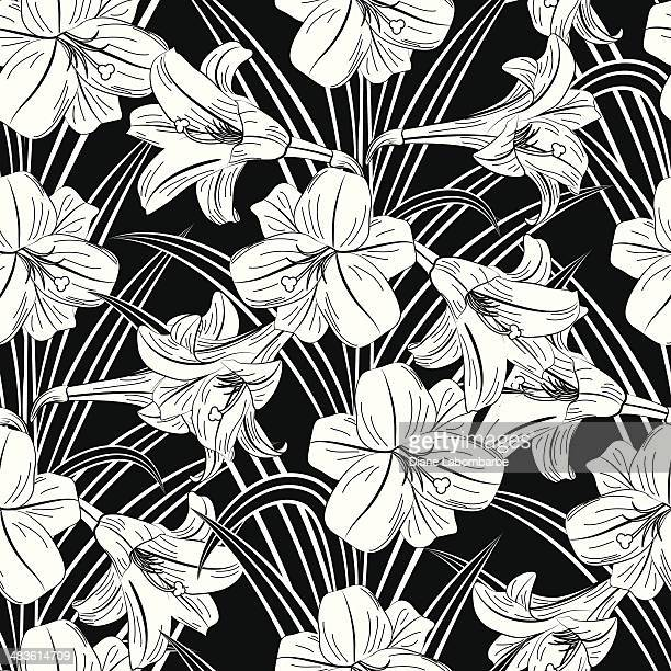 seamless black & white lily pattern - easter lily stock illustrations