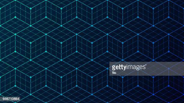 seamless block data connection network background - grid pattern stock illustrations