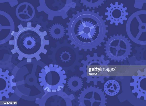 seamless blue cogs - cog stock illustrations