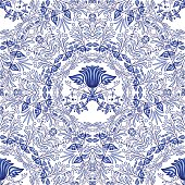 Seamless blue pattern. Repeating floral pattern of circular ornaments. Background of flowers in the style of Chinese painting on porcelain.