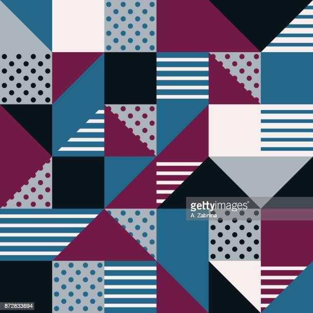 ilustraciones, imágenes clip art, dibujos animados e iconos de stock de azul rojo gris negro geométrica de patrones sin fisuras - patchwork