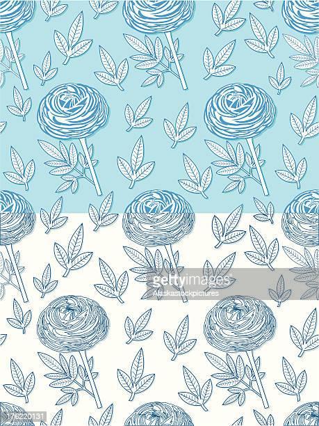ilustraciones, imágenes clip art, dibujos animados e iconos de stock de bluepeony patrón sin costuras con leafs. - ranunculus