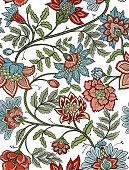 Seamless bohemian floral pattern - mandala paisley flowers