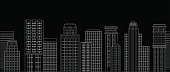 Seamless border of line skyscrapers. Black and white