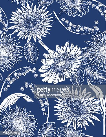 Seamless Botanical Floral Pattern Daisies and lily of The Valley