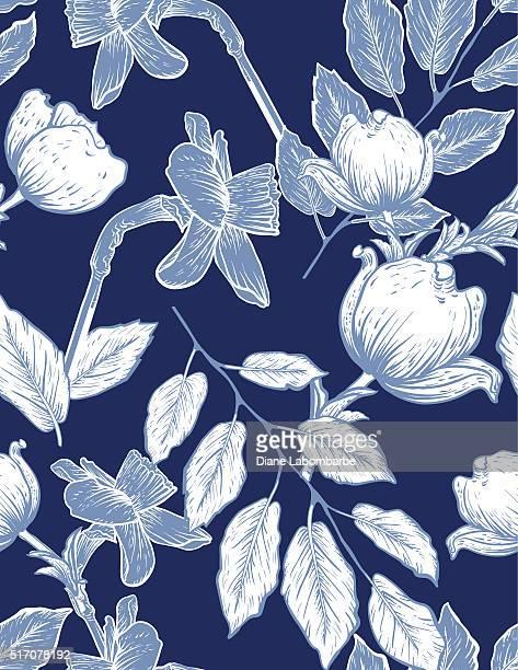 ilustraciones, imágenes clip art, dibujos animados e iconos de stock de patrón sin costuras flores botánicos y narcisos dogwood - azul marino