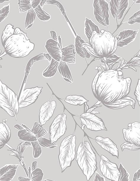 seamless botanical floral pattern dogwood and daffodils - femininity stock illustrations