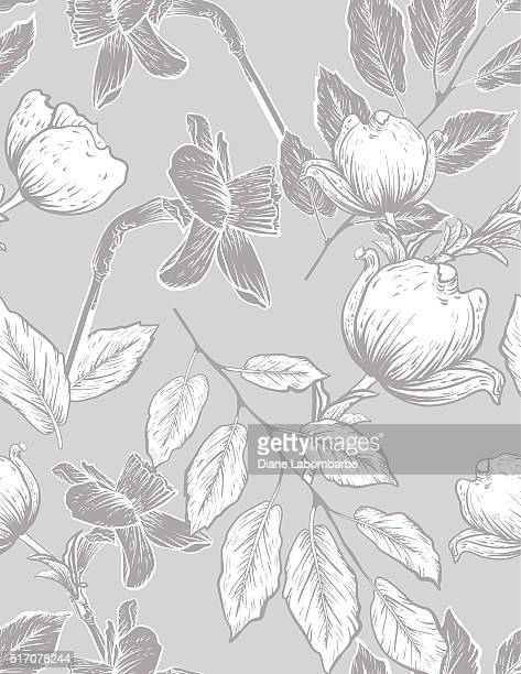 seamless botanical floral pattern dogwood and daffodils - cotton stock illustrations, clip art, cartoons, & icons