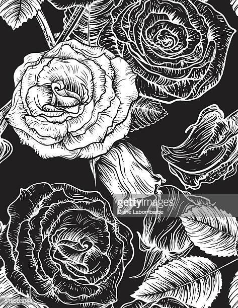 Botanische Rosen nahtlose Blumenmuster.