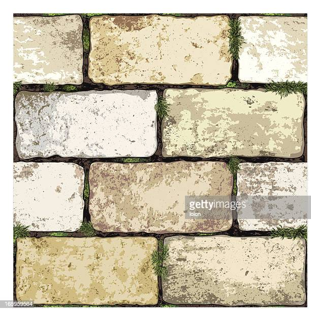 seamless brick wall background - fortified wall stock illustrations
