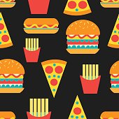 Seamless bright pattern of burgers