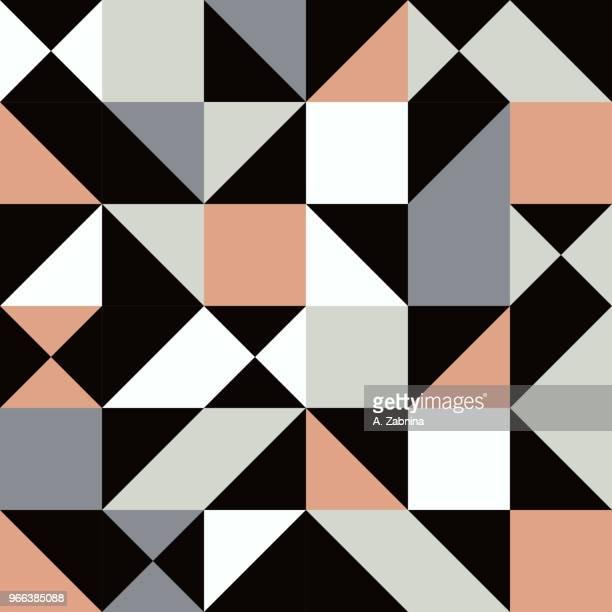 ilustraciones, imágenes clip art, dibujos animados e iconos de stock de sin fisuras patrón geométrico marrón - patchwork