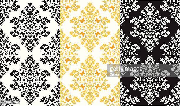 シームレスなバタフライとキリンのダマスク織りのファブリック - エドワード様式点のイラスト素材/クリップアート素材/マンガ素材/アイコン素材