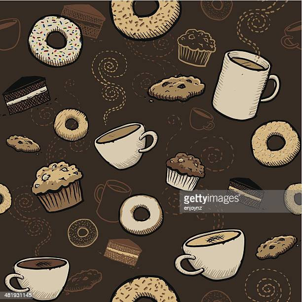 seamless cafe wallpaper - donut stock illustrations, clip art, cartoons, & icons