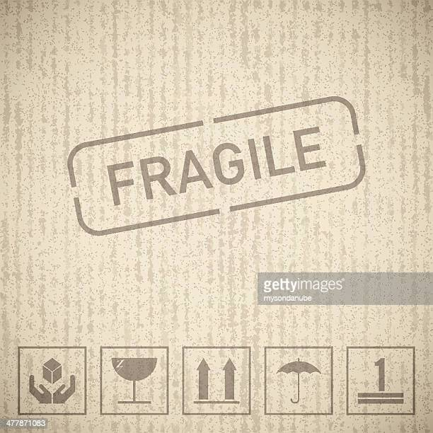 seamless cardboard texture with fragile signs