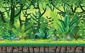 Seamless cartoon nature background. Vector illustration with separate layers.