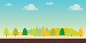 Seamless cartoon nature landscape. Hills, trees, clouds and sky,background for games mobile applications and computers. Vector illustration for your design