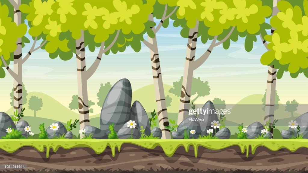Seamless Cartoon Spring Landscape