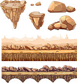 Seamless cartoon stones and bridge for game design. Vector elements