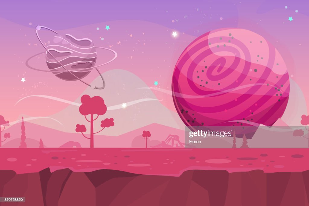 Seamless cartoon vector landscape