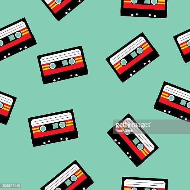 Seamless Pattern di Cassette Tape