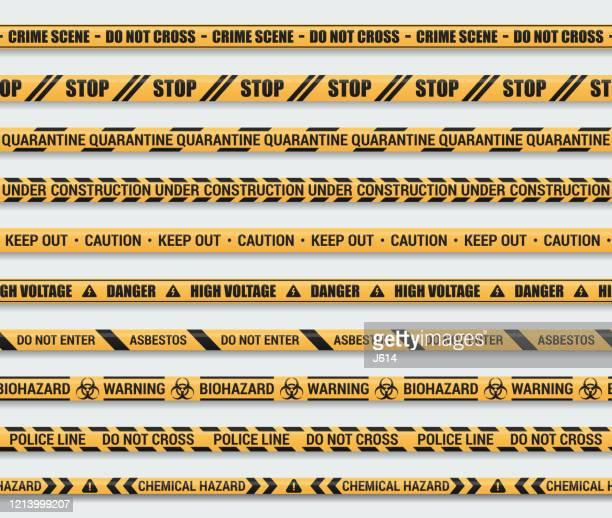 シームレスな注意テープセット - バリアーテープ点のイラスト素材/クリップアート素材/マンガ素材/アイコン素材
