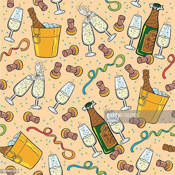seamless champagne - champagne cork stock illustrations, clip art, cartoons, & icons