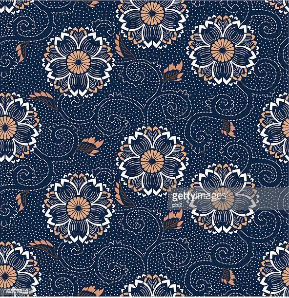 seamless cherry blossom floral pattern vector - batik stock illustrations