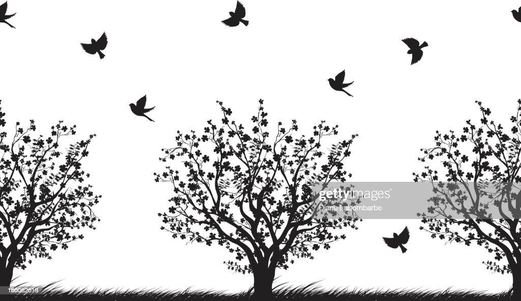 Seamless Cherry Trees Pattern