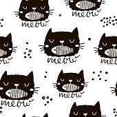 Seamless childish pattern with cute cat face with fish in mouth. Creative nursery background. Perfect for kids design, fabric, wrapping, wallpaper, textile, apparel