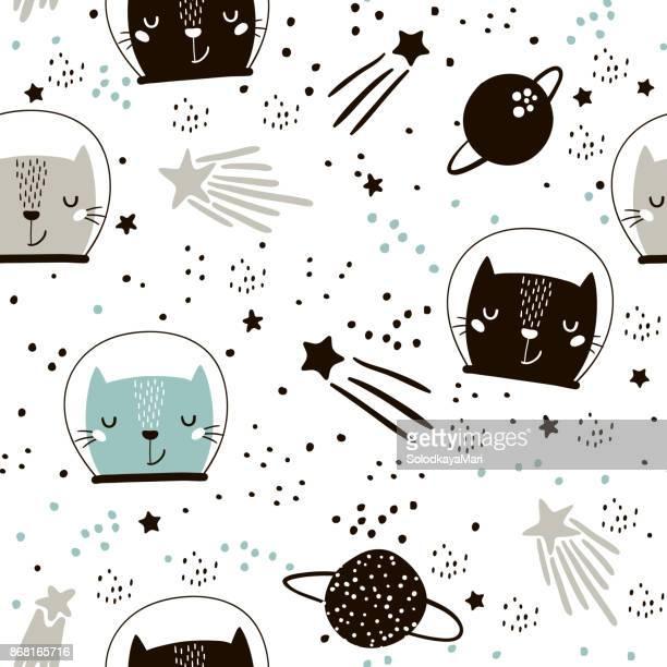 Kindisch Musterdesign mit niedlichen Katzen Astronauten. Kreative Kindergarten Hintergrund. Perfekt für Kinder Design, Stoff, Verpackung, Tapeten, Textilien, Bekleidung
