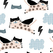 Seamless childish pattern with cute cats hero mask, flash, star,cloud. Creative kids texture for fabric, wrapping, textile, wallpaper, apparel. Vector illustration