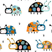 Seamless childish pattern with funny lady birds. Creative kids hand crafted texture for fabric, wrapping, textile, wallpaper, apparel. Vector illustration