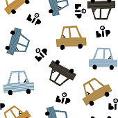 Seamless childish pattern with hand cartoon drawn cars. Creative kids texture for fabric, wrapping, textile, wallpaper, apparel. Vector illustration