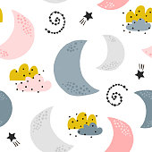 Seamless childish pattern with moons, clouds, stars. Creative kids texture for fabric, wrapping, textile, wallpaper, apparel. Vector illustration