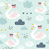 Seamless childish pattern with swan unicorn. Creative nursery texture. Perfect for kids design, fabric, wrapping, wallpaper, textile, apparel