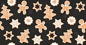 Seamless Christmas and New Year's pattern with cookies.