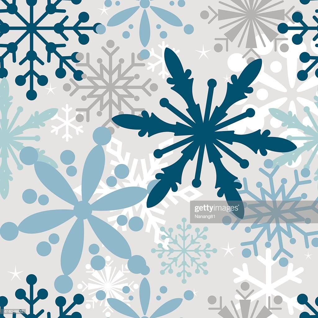 Seamless Christmas background with snowflake design : Vector Art