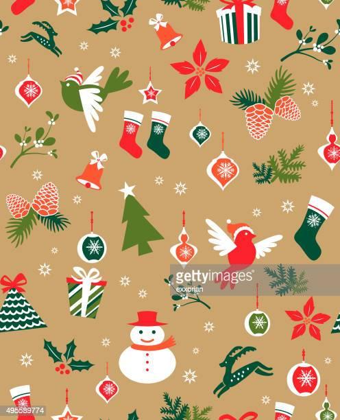 nahtlose weihnachten elemente - tannenzweig stock-grafiken, -clipart, -cartoons und -symbole